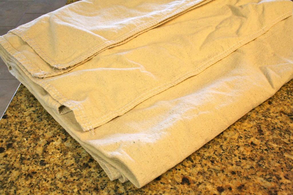 painted drop cloth pillows