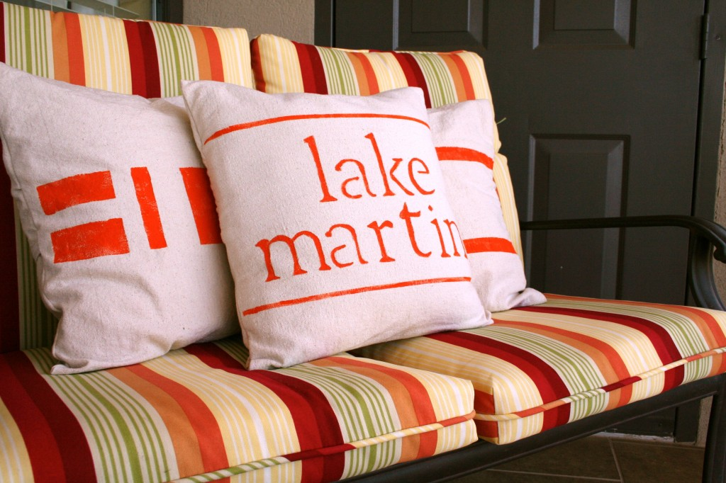 painted drop cloth pillows