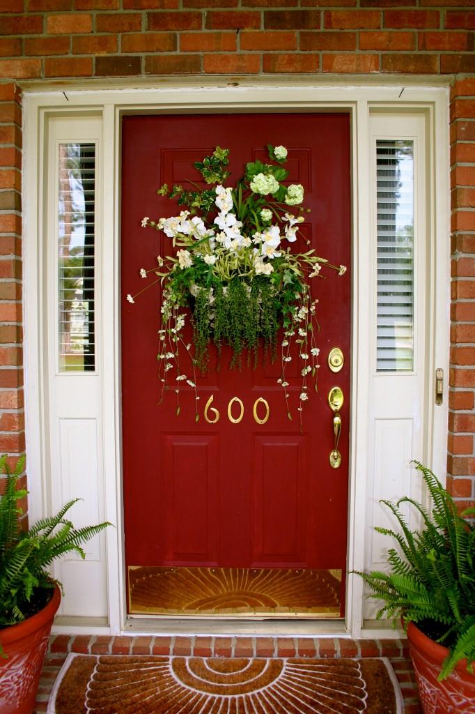 White Brick House Black Trim Red Door