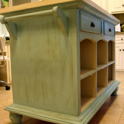Kitchen Island- From Red to Blue