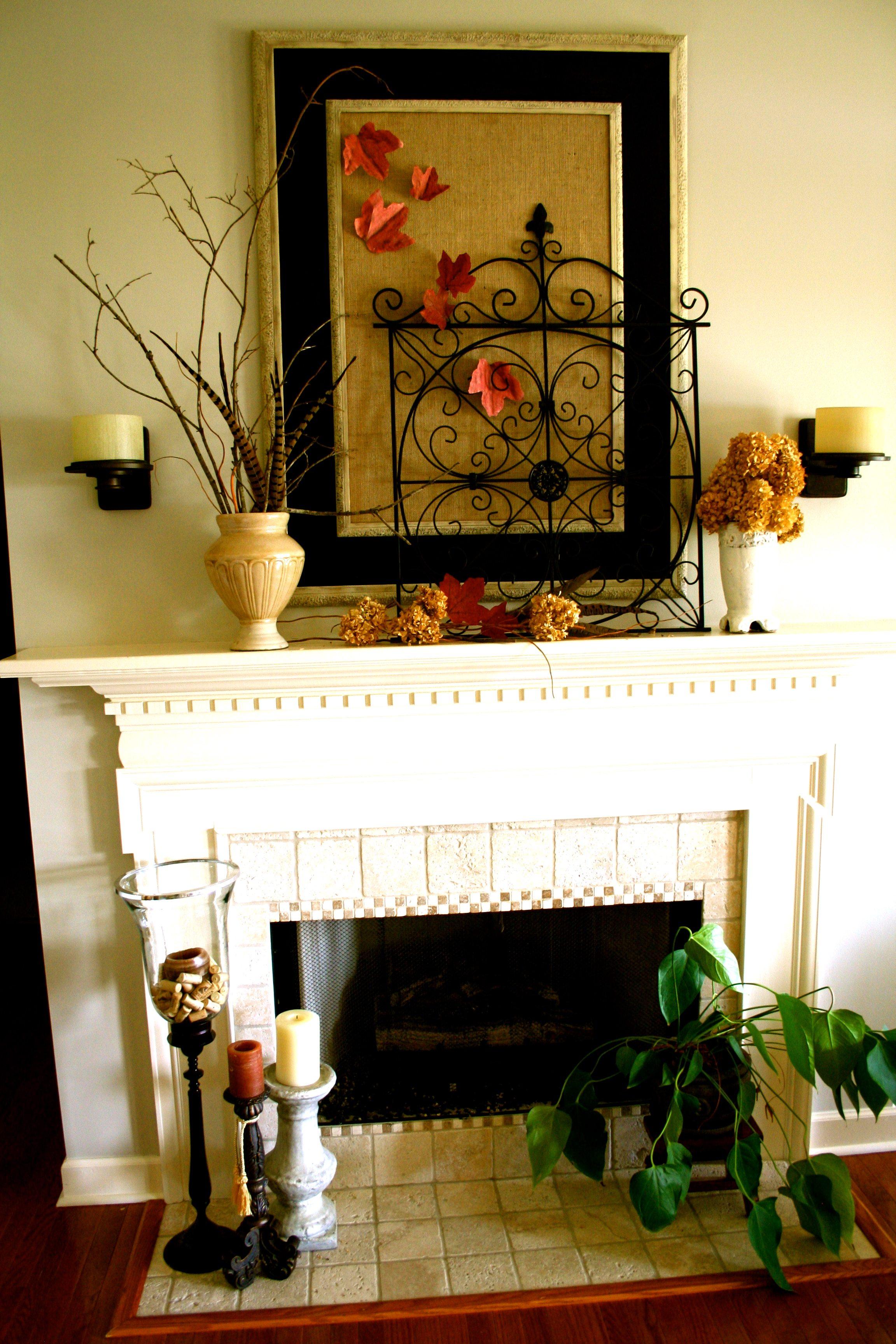 Fall mantel refresh restyle - Decor above fireplace mantel ...