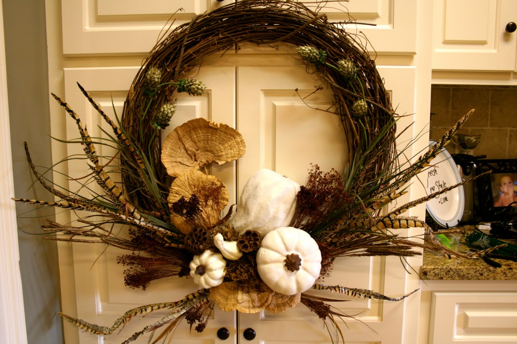 For your fall door - White Pumpkin for the door - quick and easy arrangement