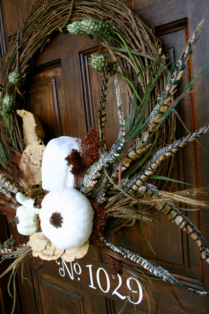 Show stopper - Perfect For your fall door - White Pumpkin for the door - quick and easy arrangement