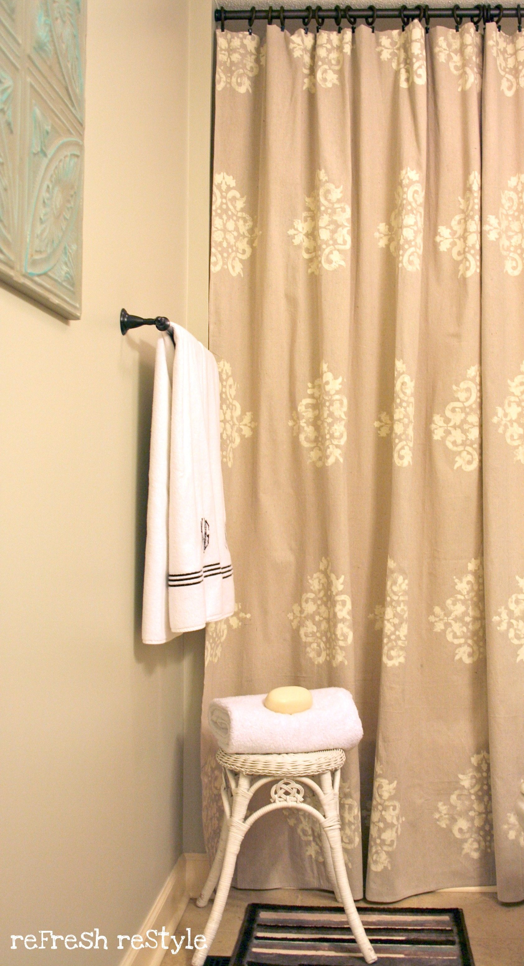 Paint Drop Cloth Curtains Painted Shower Curtain Refresh Restyle