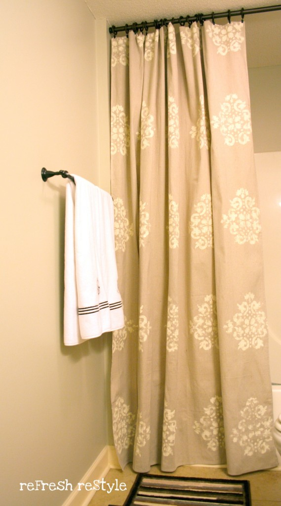 Painted Shower Curtain | Refresh Restyle