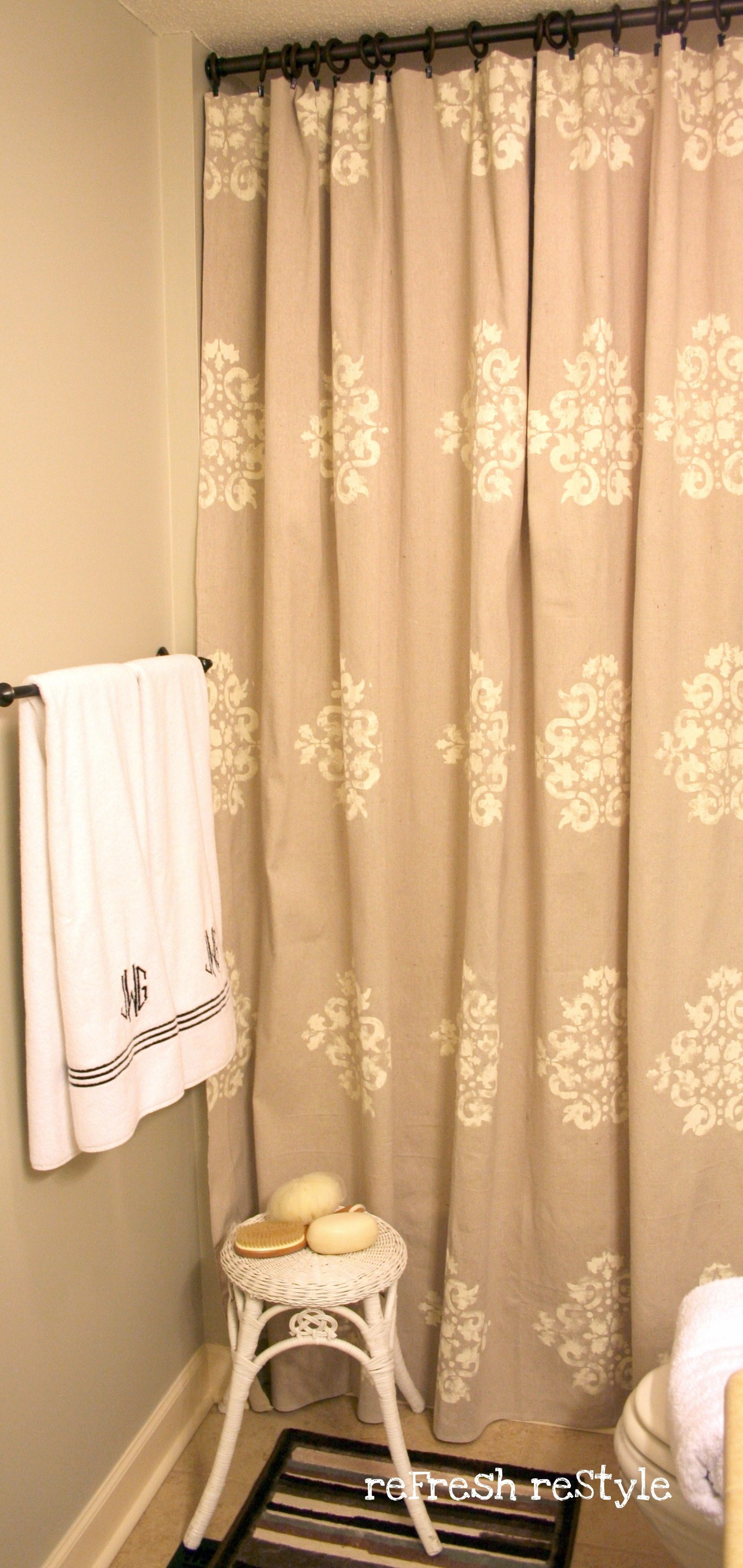 How To Paint A Shower Curtain Made From Drop Cloth