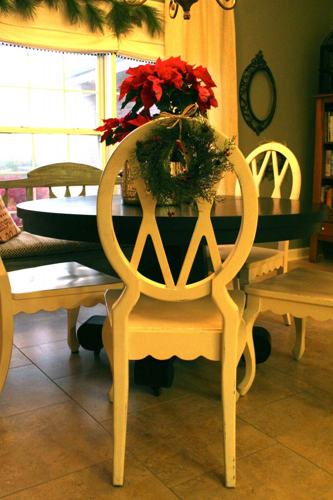 Christmas in the kitchen - budget decorating ideas -  poinsettias and little wreaths