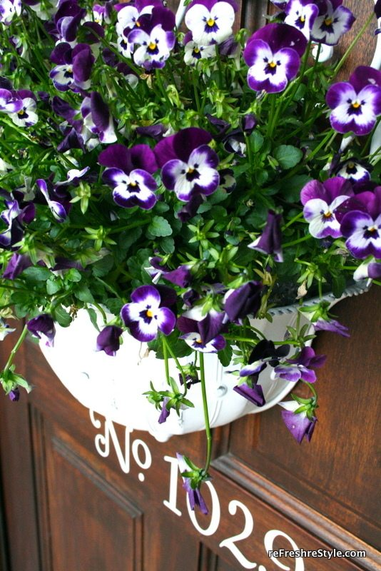 Beautiful pansies in a metal container