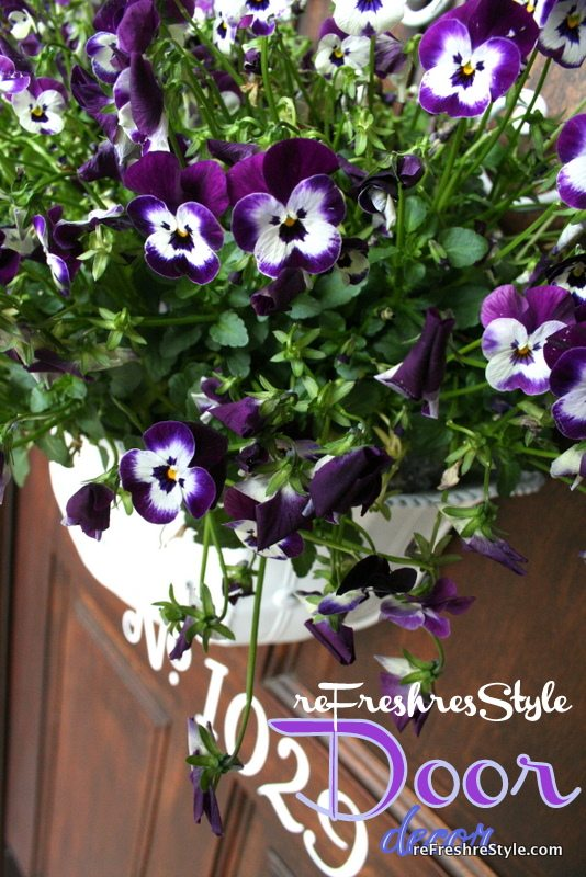 Live flowers - pansies - front door decor