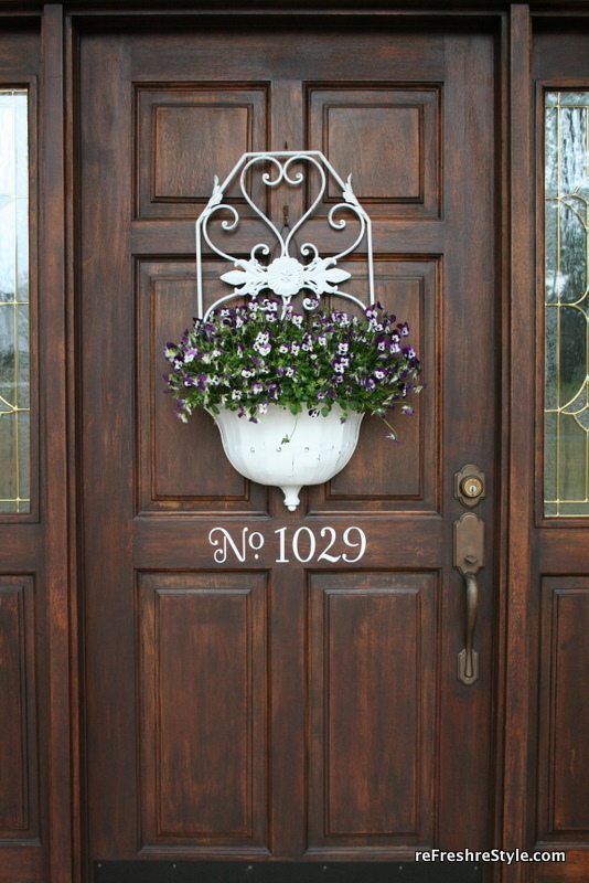 Door decor with pansies