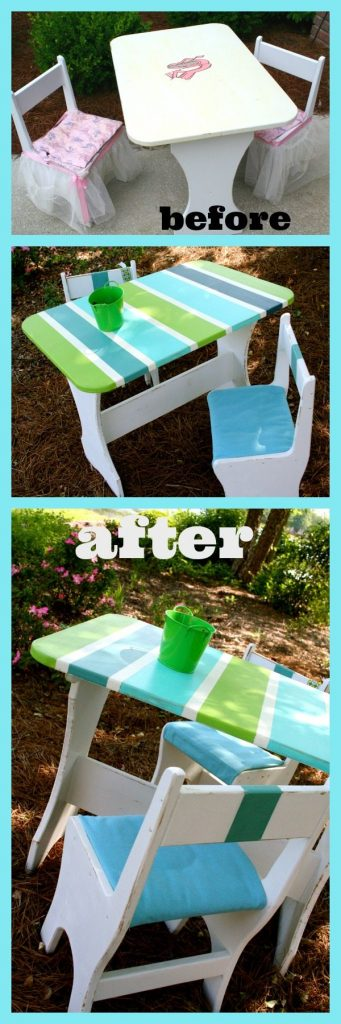 Kids Picnic table makeover #beach inspired