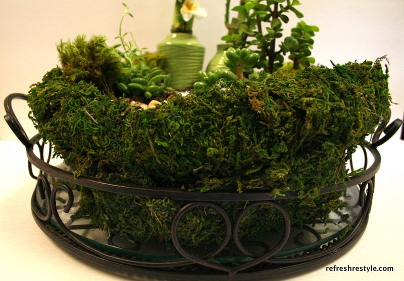 Use moss to surround a mini garden in a metal tray.