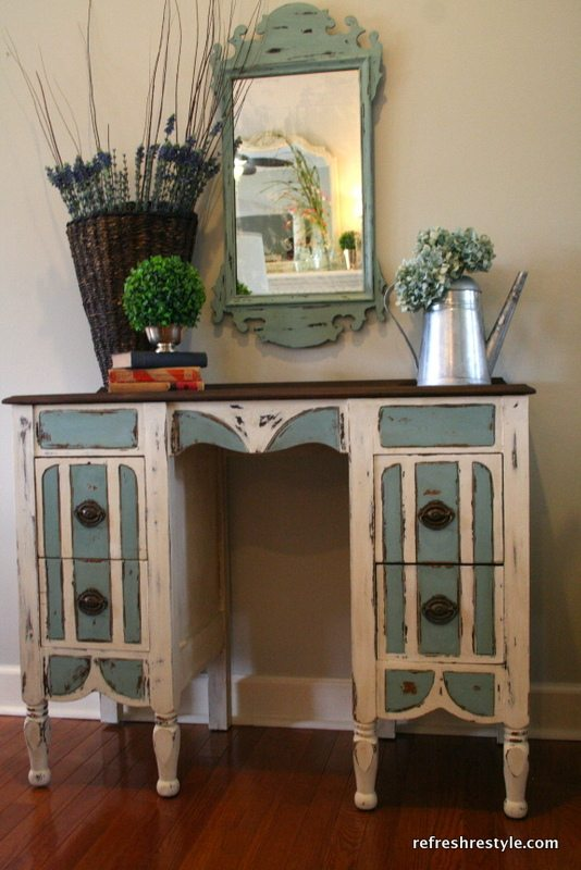 The Old Vanity~Now a Desk The Old Vanity~Now a Desk Striped, stained painted with Annie Sloan Chalk Paint