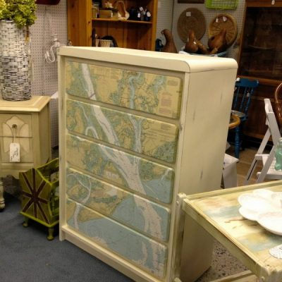Mod Podge Map Dresser