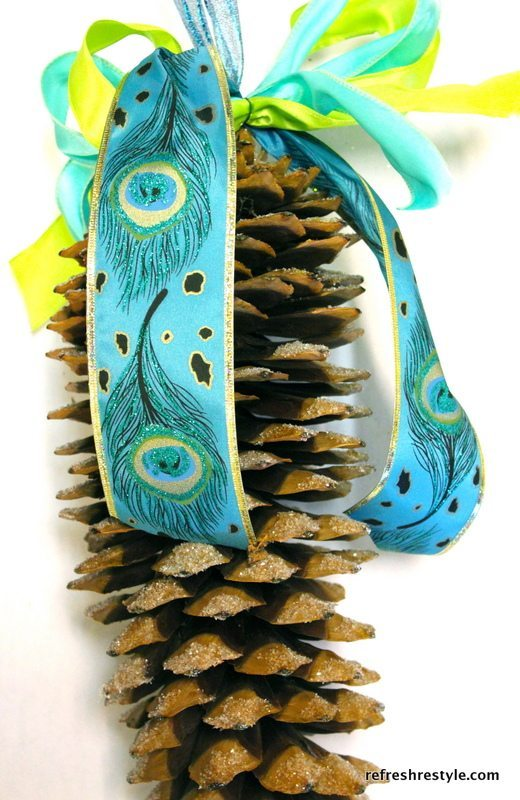 Adding Ribbon to a Pinecone