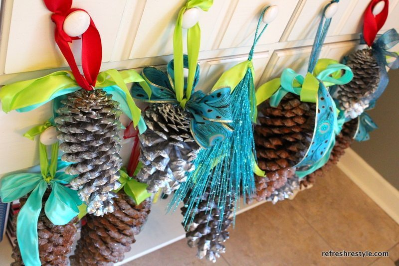 Ribbon on Pinecones