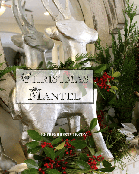 Christmas Mantel with silver and natural elements.