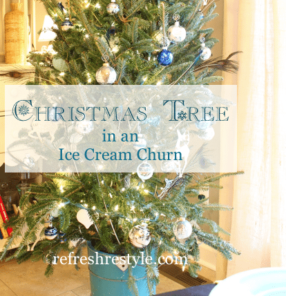 A small farmhouse kitchen needs a Christmas Tree in an Ice Cream churn bucket. And if the ice cream churn bucket is aqua or turquoise that's even better!