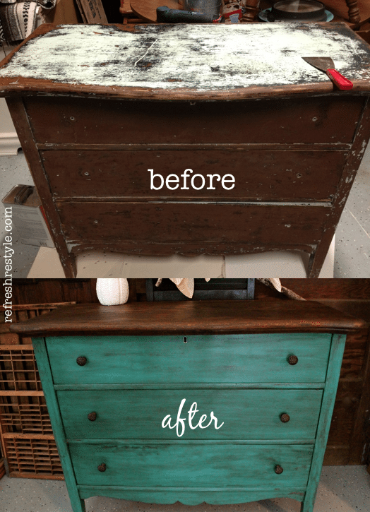 Awesome Emerald green dresser makeover - painted furniture idea that you can do yourself