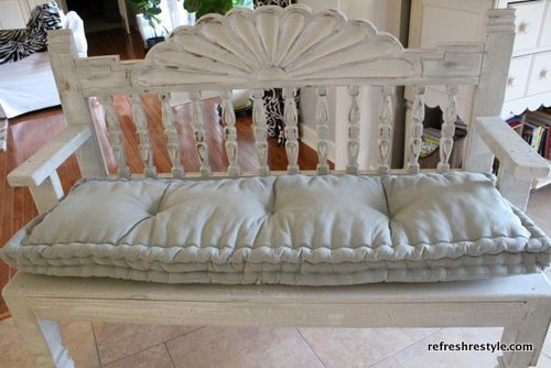 Bench from a headboard