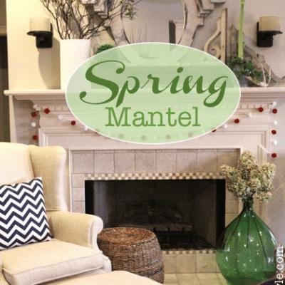 Spring Mantel Pom Pom's and Green