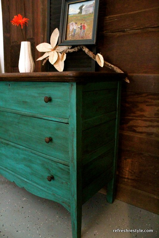 Unbelievable makeover Emerald green dresser makeover - painted furniture idea that you can do yourself