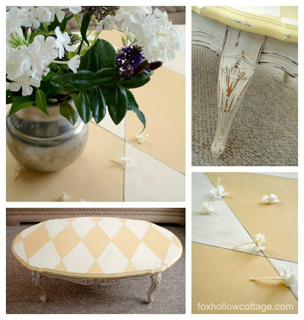 Harlequin table makeover La Craie Paint Magnolia & Miel foxhollowcottage.com 8