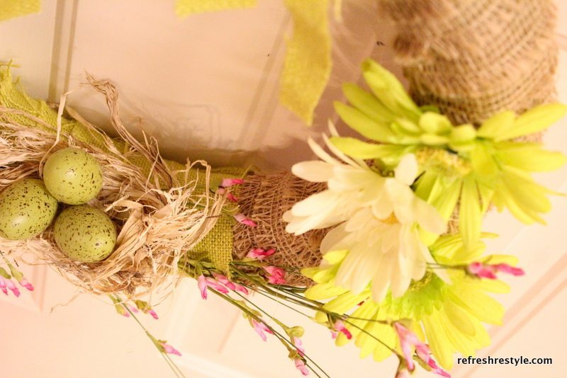 flowers on spring burlap wreath