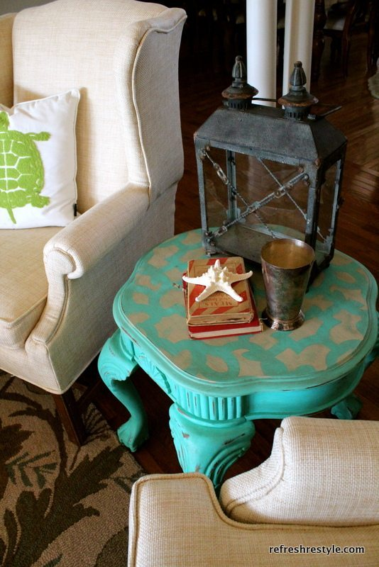 stenciled table