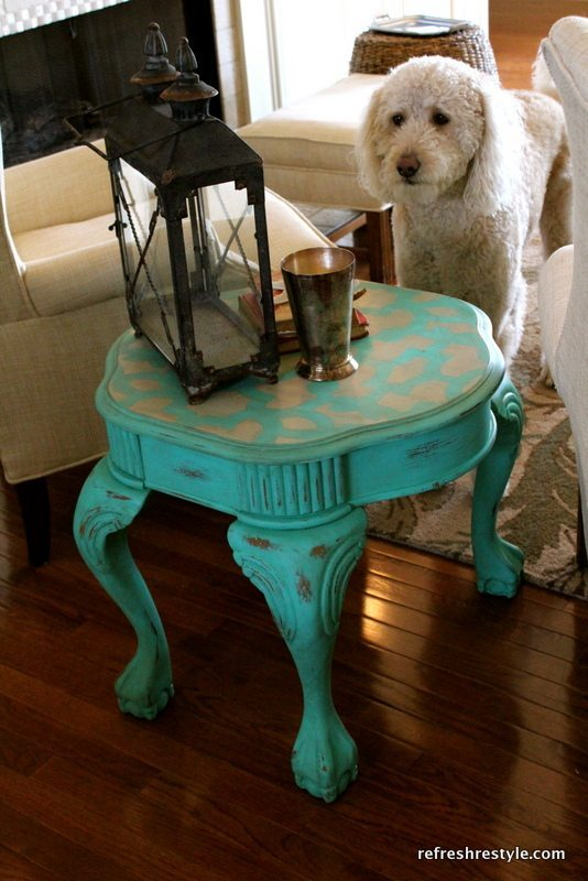 table stenciled