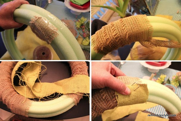 wrapping the burlap around the pool noodle
