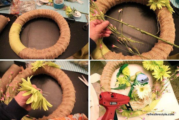 burlap wrapped wreath