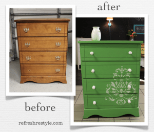 Outdated Dresser becomes a pop of color!