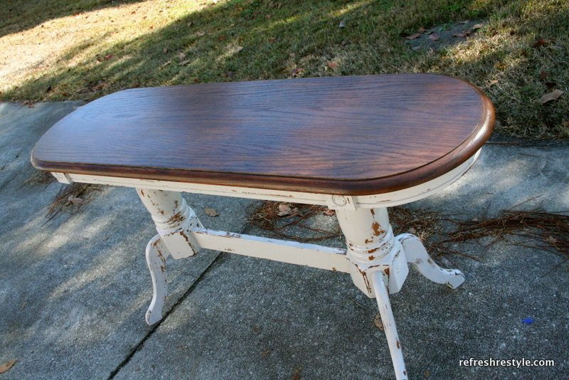 Step by step instructions for a sofa table makeover with a stained top and painted bottom!