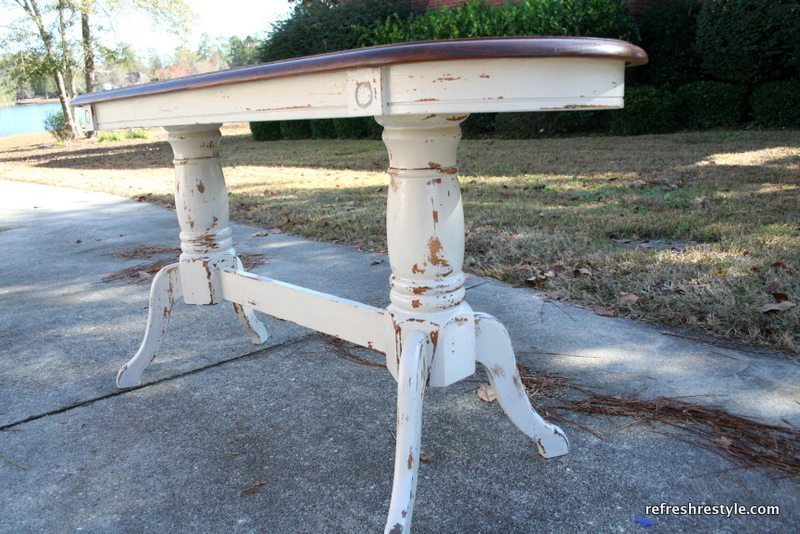Grain Sack Mustard Seed Paint painted on the bottom of this sofa table and stained top!