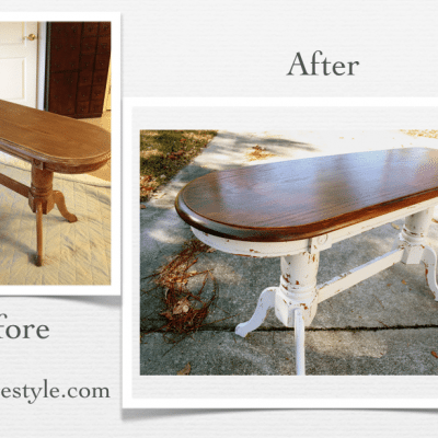 Oak Sofa Table Makeover {MMS Milk Paint}