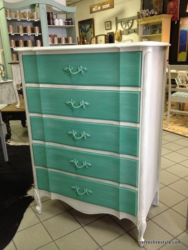 two toned french provincial - painted furniture makeover at Refresh Restyle