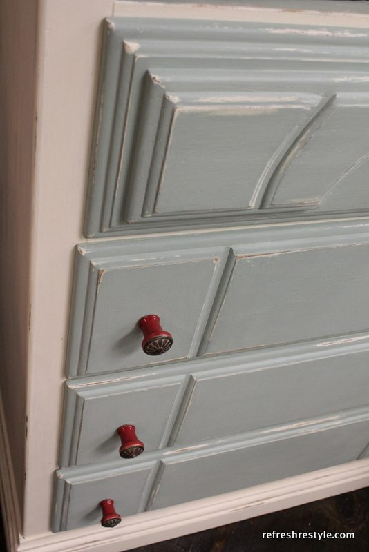 How to add interest to a painted piece of furniture, like this Red Hardware.