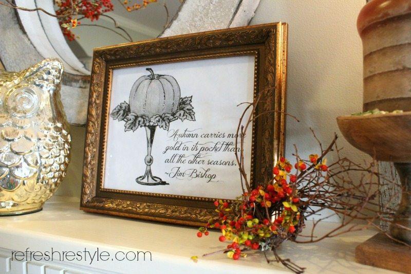 Black and White Autumn Print - Autumn Print - free fall printable - Farmhouse decor idea from Refresh Restyle