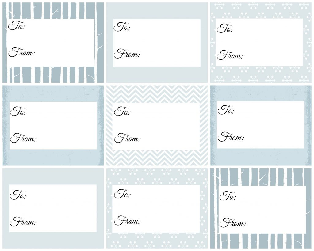 Blue Christmas gift tags
