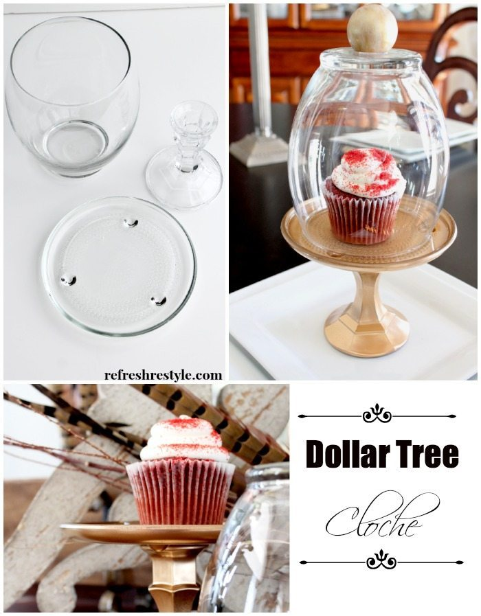 Dollar tree items for a DIY Cloche