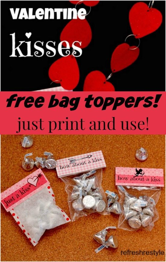 Valentine Kisses Bag Toppers - free