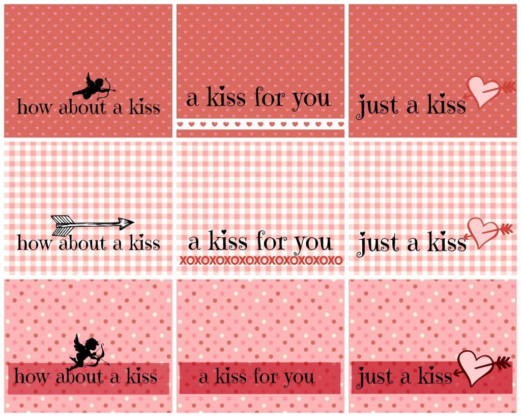 kisses - printables