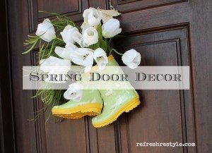 Rain Boots Spring Door Decor