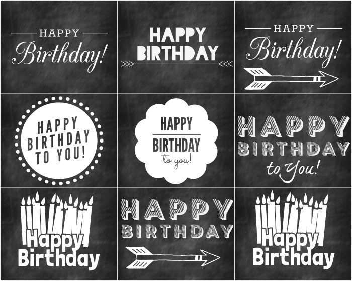 Birthday Cards in Chalkboard