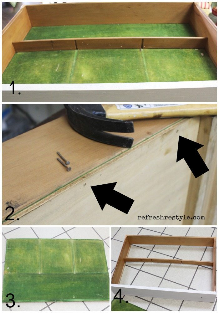 How to replace felt in a silverware drawer.