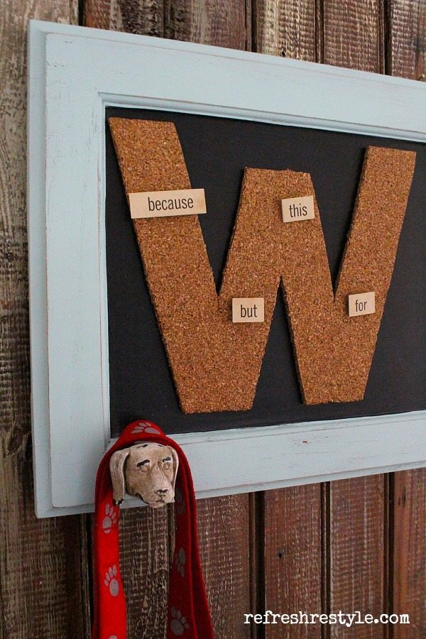 Monogramed Chalkboard with a hook for you dog leash
