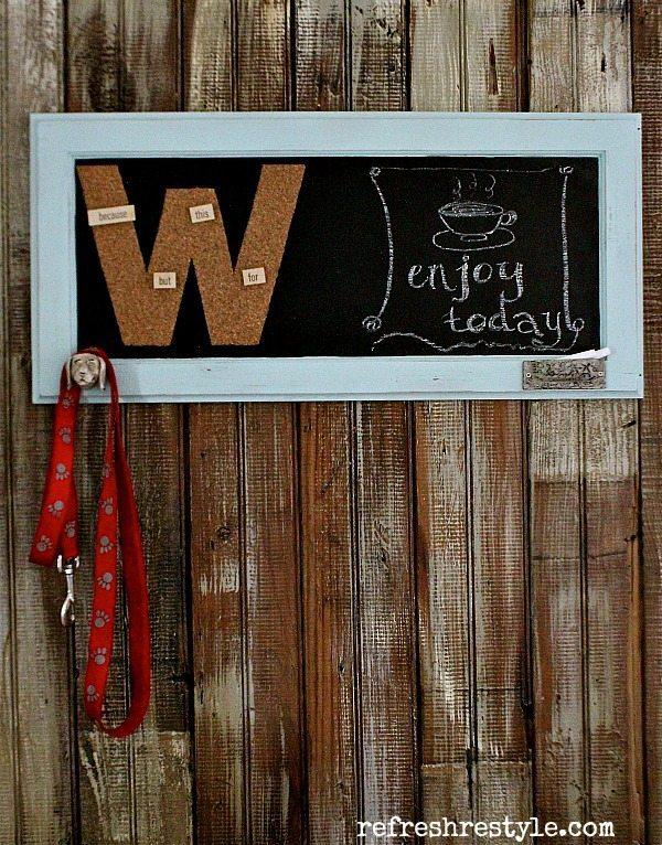 Chalkboard Message center made for an old cabinet door!