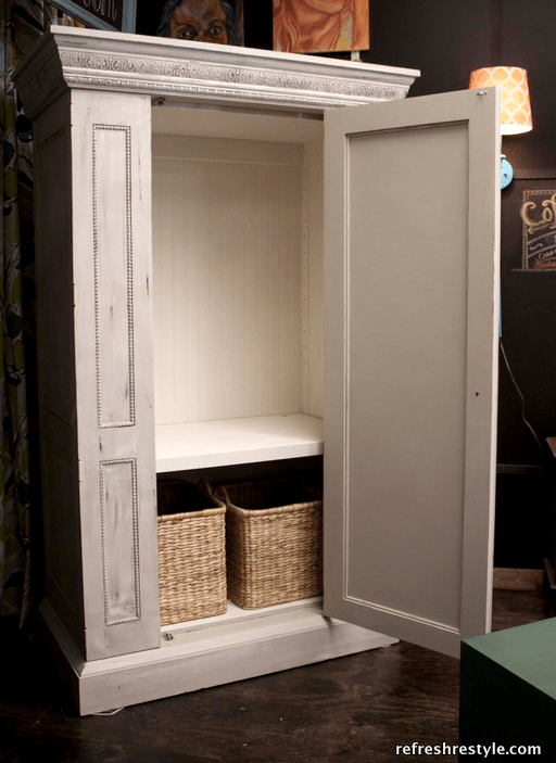 TV armoire up-cycled for extra storage