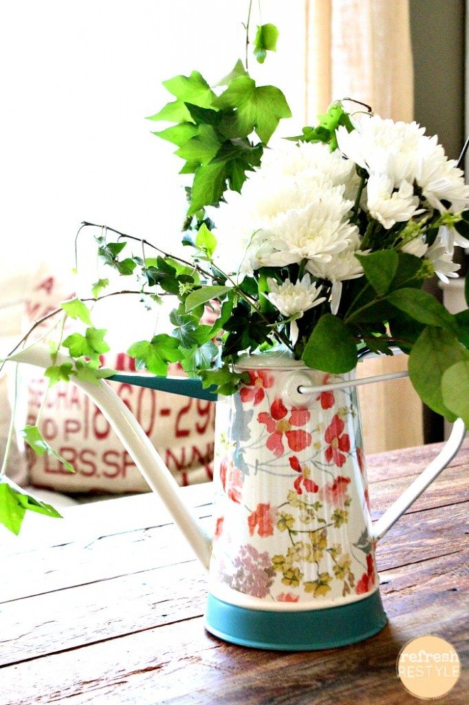 fresh flowers - watering can for a vase